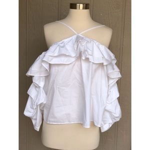 Joie | Econa White Ruffle Cold Shoulder Blouse